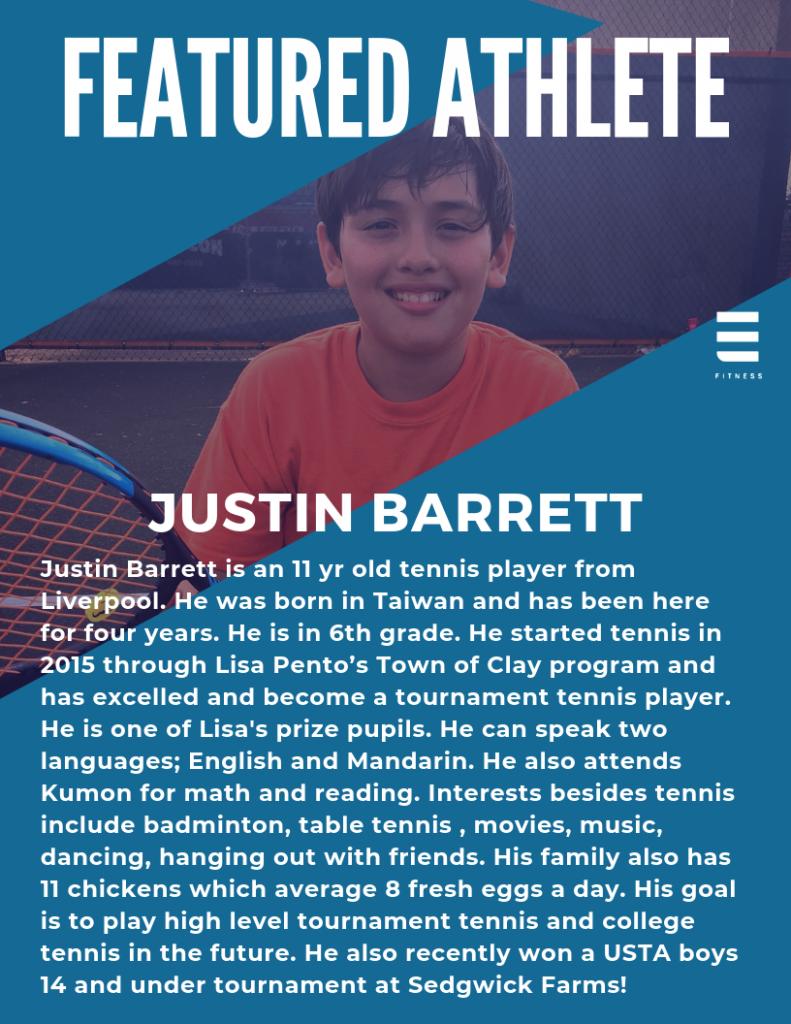 Elevate Fitness Syracuse, NY Tennis student Justin Barrett