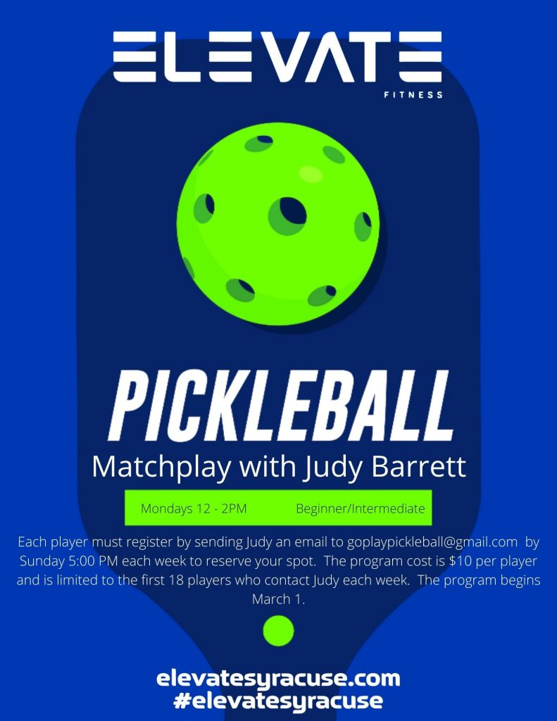 Pickleball Matchplay at Elevate Fitness in Dewitt, NY